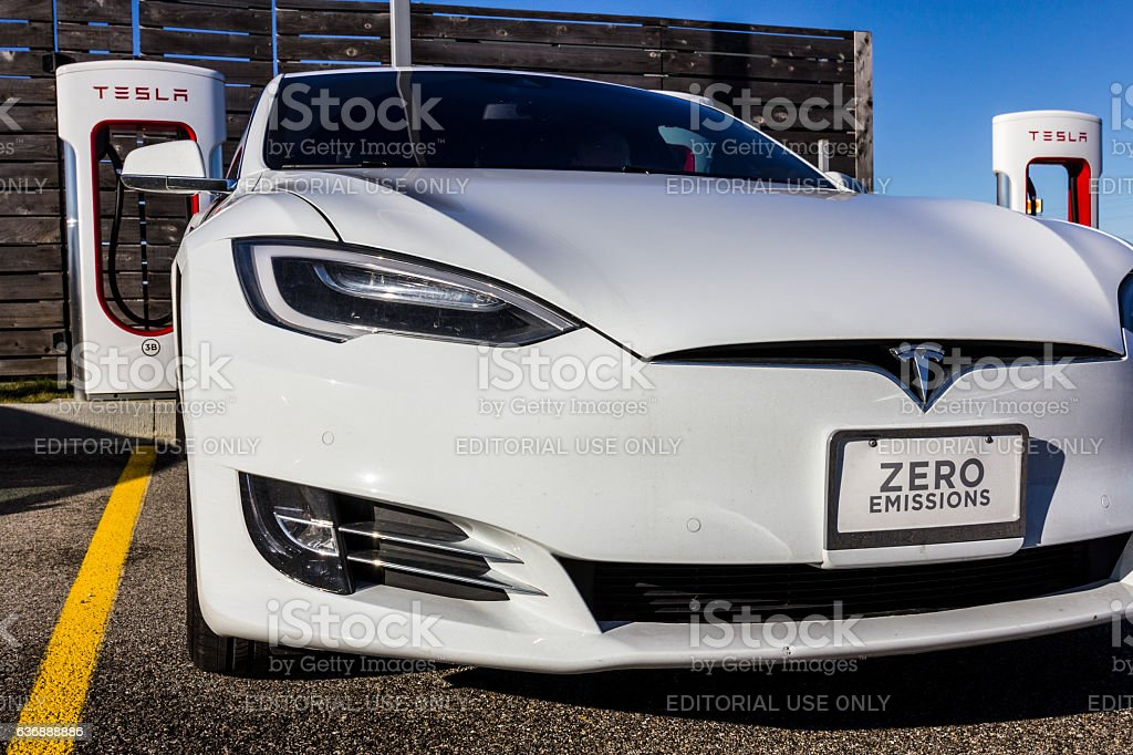 Tesla Supercharger Station XI Lafayette, US - December 27, 2016: Tesla Supercharger Station. The Supercharger offers recharging of Model S and Model X electric vehicles XI Alternative Fuel Vehicle Stock Photo