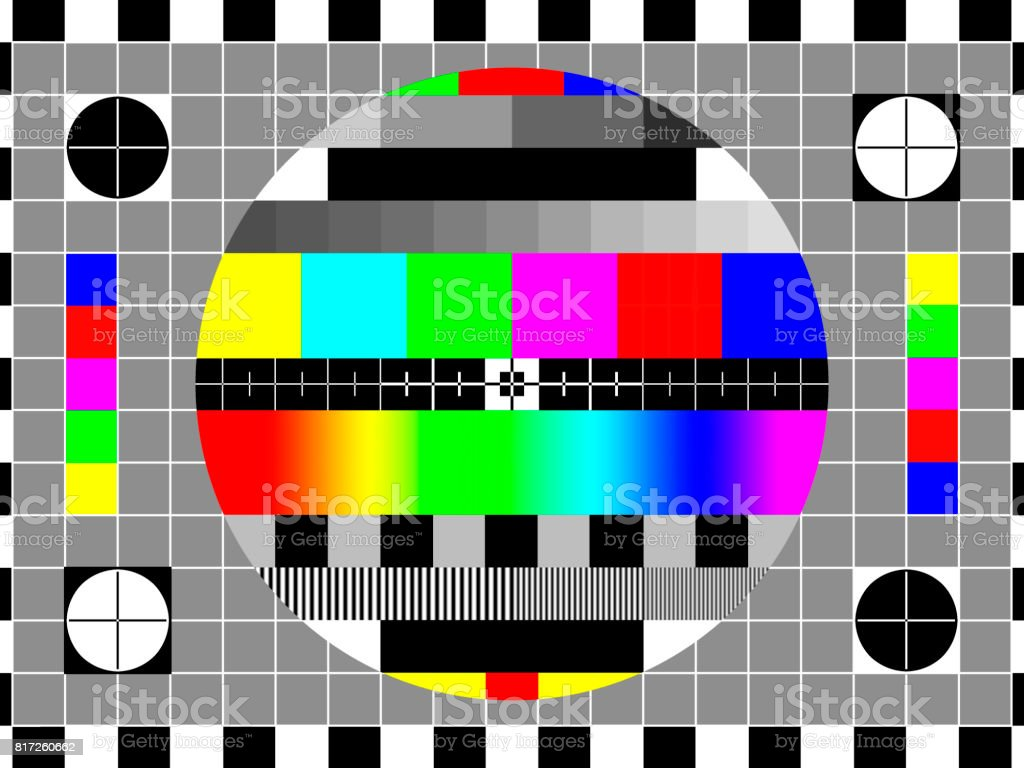 TV test card or test pattern. SD 4:3 ratio. Generic. stock photo