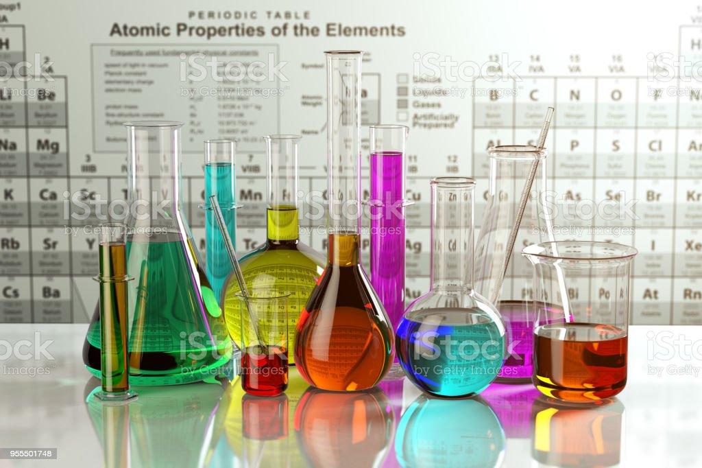 Fotografa de frascos de vidrio y los tubos con soluciones frascos de vidrio y los tubos con soluciones coloreadas de la tabla peridica de los elementos urtaz Choice Image