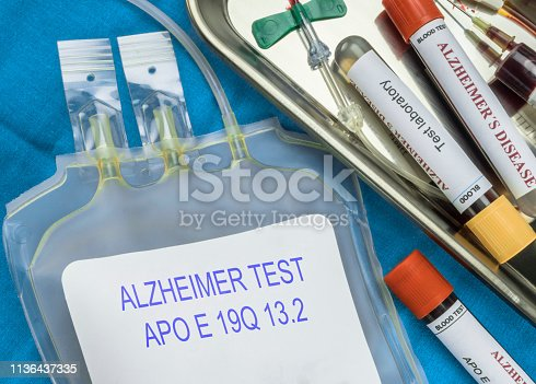 istock Test of Alzheimer disease through extraction of blood, Recent discovery makes possible to discover with 16 years in advance this disease, conceptual image 1136437335