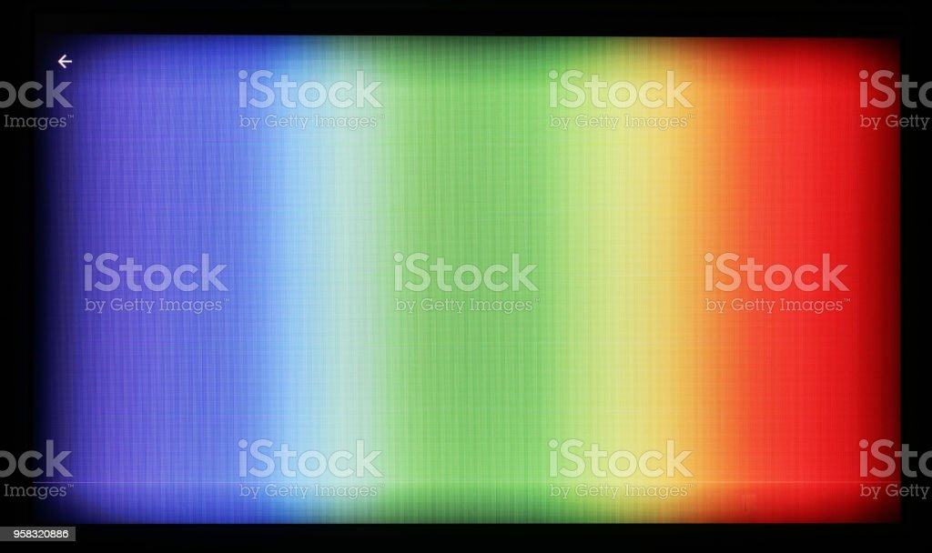 Test pattern  of color television patterns photographed on the camera of a cheap tablet. The photo is displayed on the screen  with resolution 1024 by 600 pixels stock photo