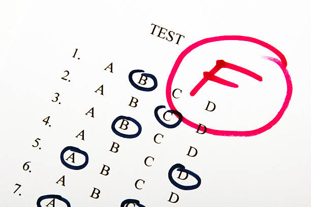 test results in school test results in school, selective focus failure stock pictures, royalty-free photos & images