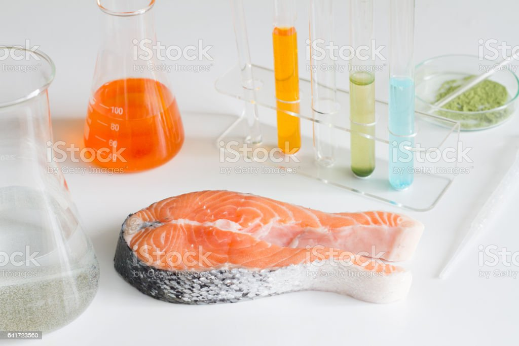 Test salmon fish in laboratory control of mercury and toxic dye stock photo