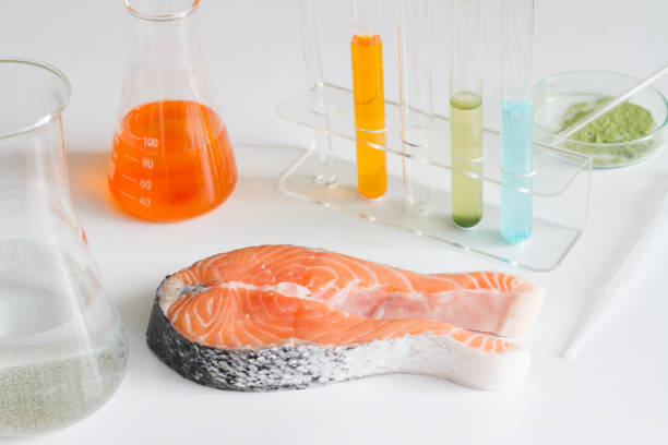 Test salmon fish in laboratory control of mercury and toxic dye stock photo