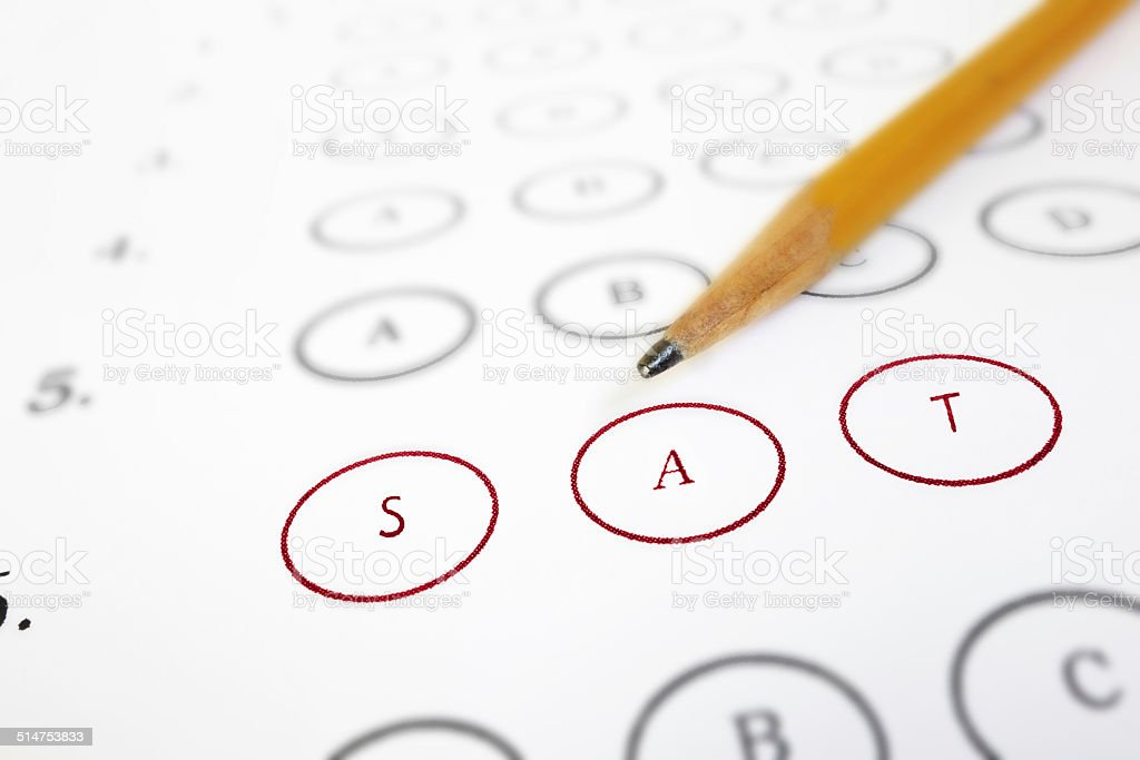 SAT test sheet stock photo