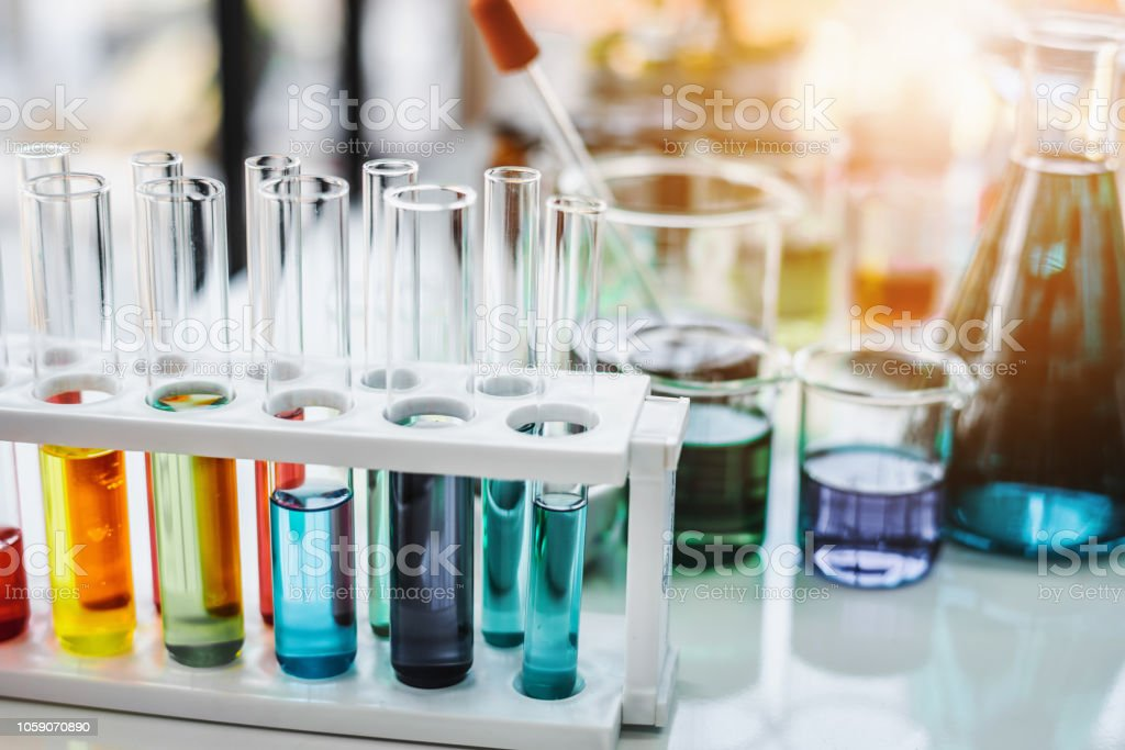 Test tube containing chemical liquid in laboratory, lab chemical...