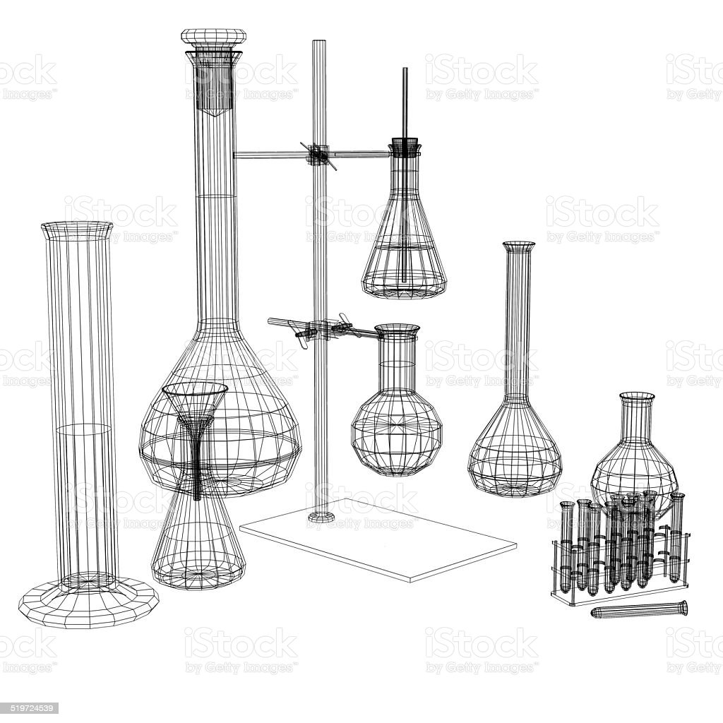 Test tubes and flasks. Wire-frame render stock photo