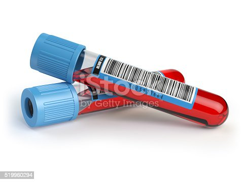 Blood test tubes. Blood samples  isolated on white. 3d illustration