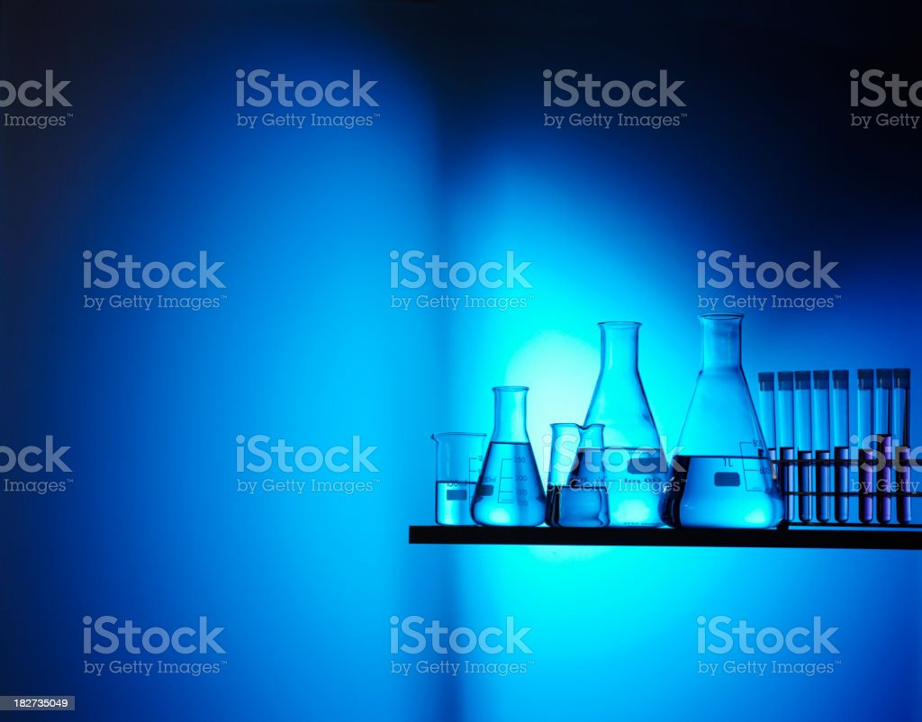 Test Tubes, Conical Flask and Scientific Beakers royalty-free stock photo