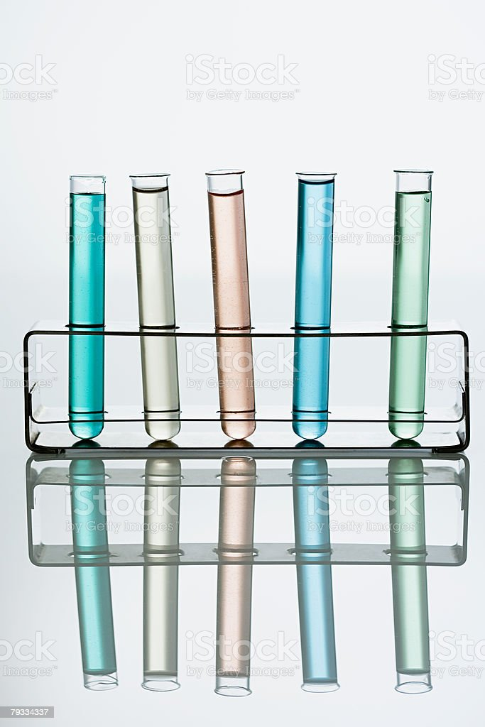 Test tubes in a holder stock photo