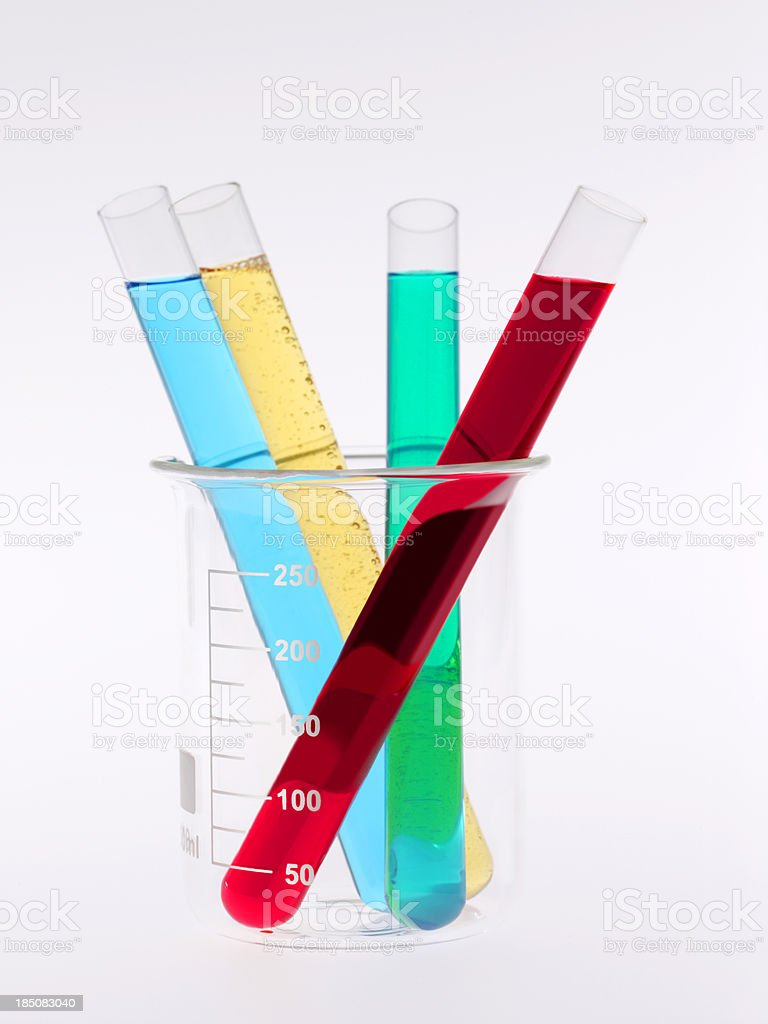 Test tubes in a laboratory experiment  chemistry royalty-free stock photo