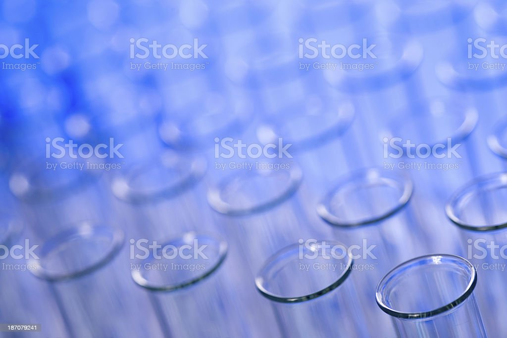 Test tubes  in blue stock photo