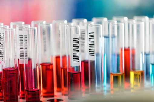 istock Test tubes in chemical laboratory 843765228