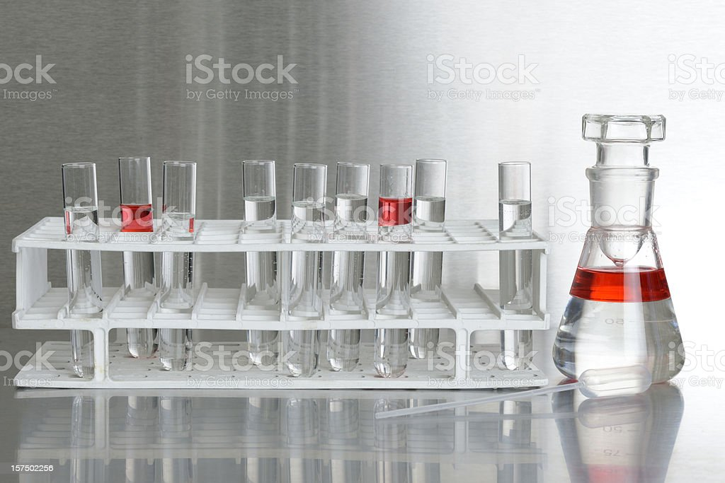 test tubes in rack, Erlenmeyer conical flask and pipette XXXL stock photo