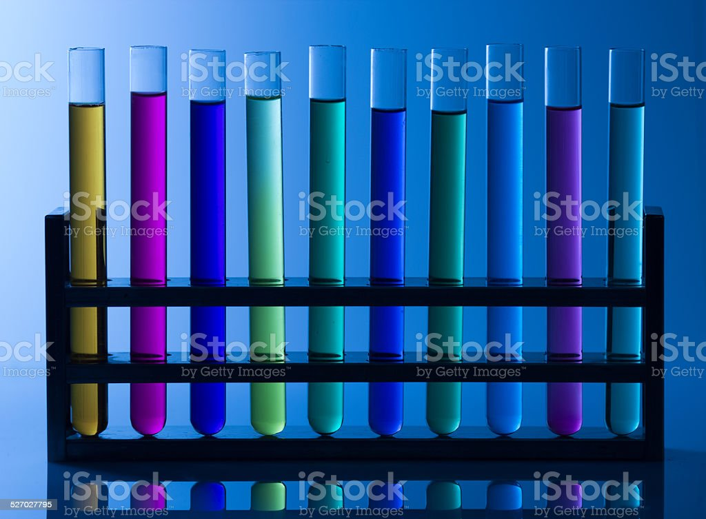 Test Tube's into the Test Tube Rack stock photo