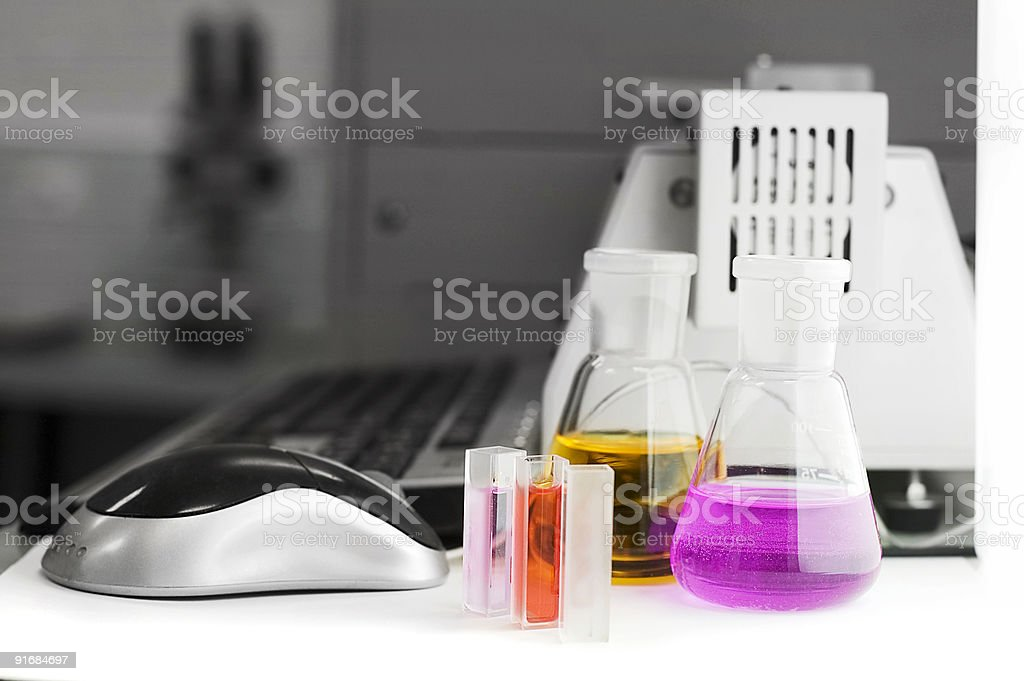 test tubes mouse ans laboratory equipment - Royalty-free Adult Stock Photo