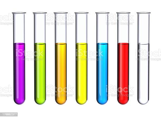 Seven test tubes with a colored liquid isolated on white.