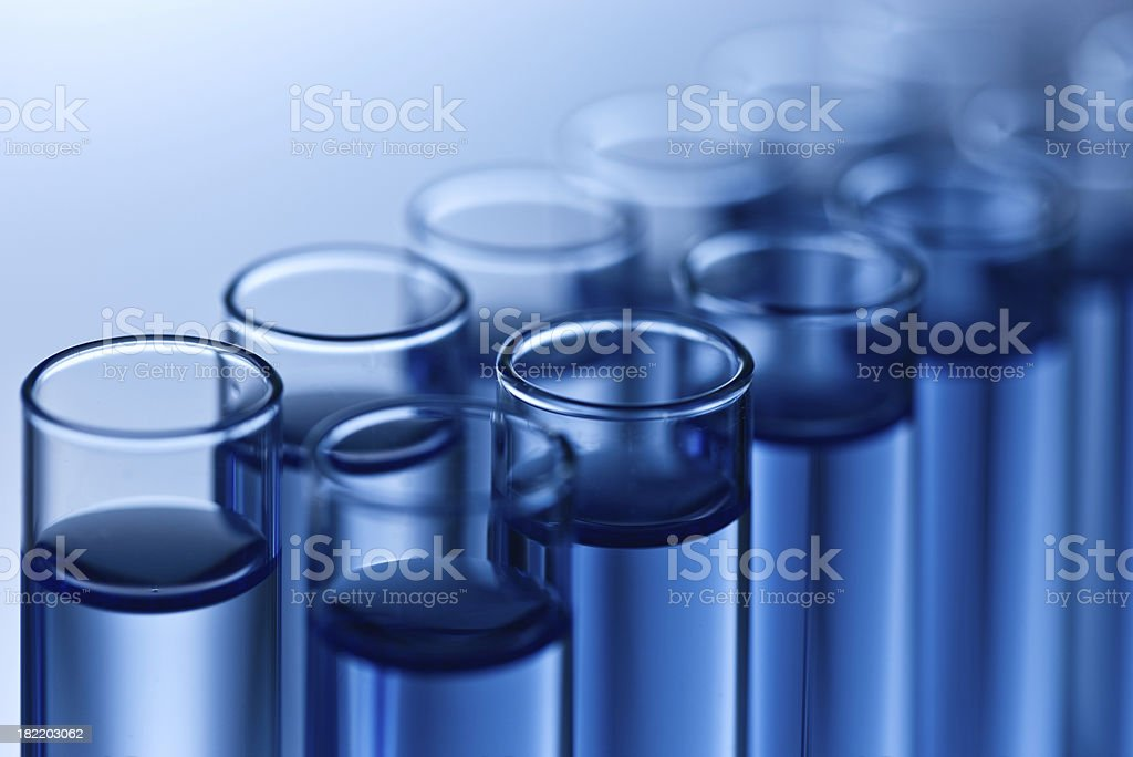 Test tubes row closeup stock photo