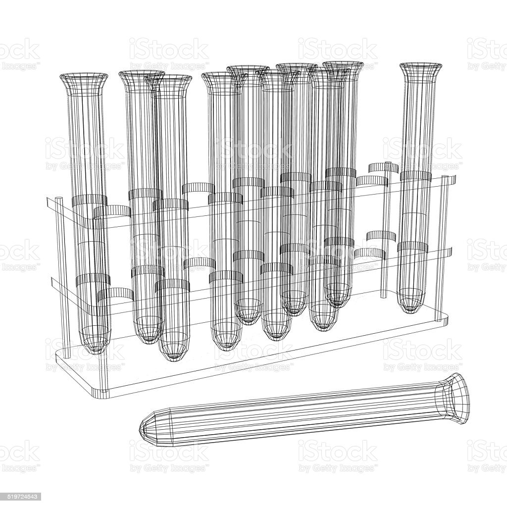 Test tubes. Wire-frame render stock photo