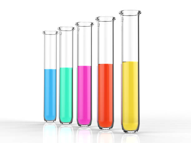 test tubes with colourful liquid stock photo