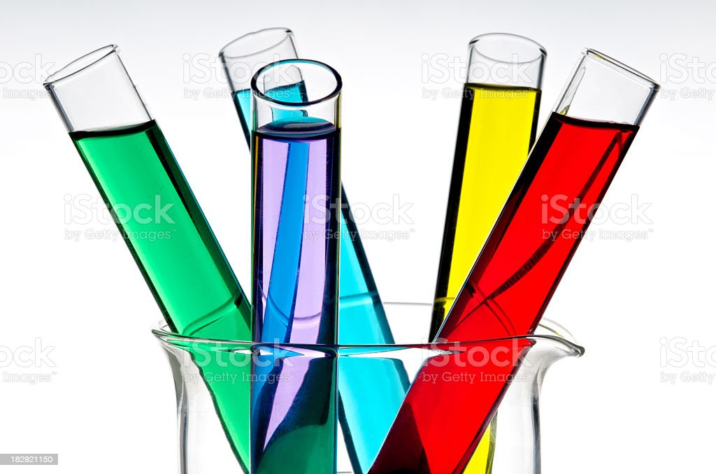 Test tubes with different colored liquids royalty-free stock photo