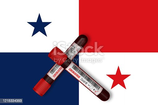 istock Test tubes with the Inscription 2019-nCoV on the background of the Panama Flag. 3D Rendering 1215334353