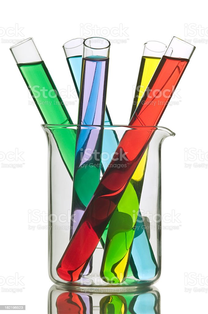Test tubes with various colors royalty-free stock photo