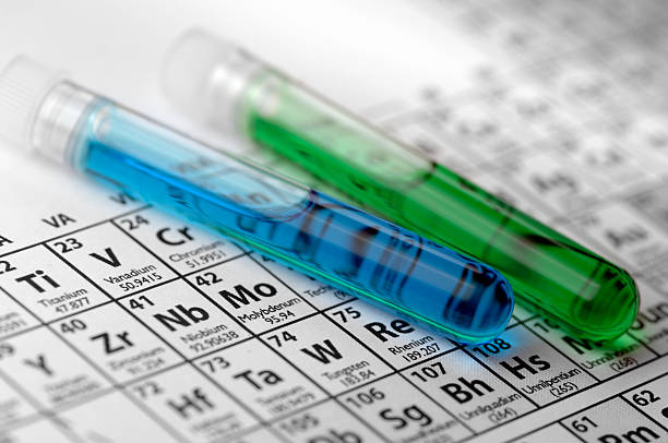 Test Tues Lying On a Periodic Table stock photo