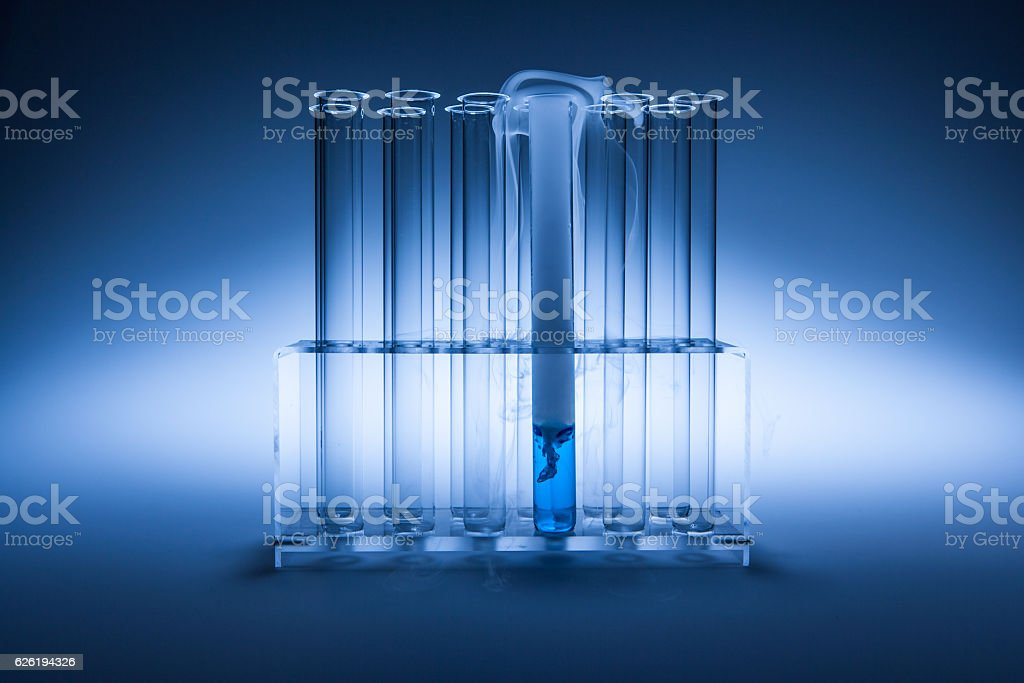 test with blue fluid stock photo
