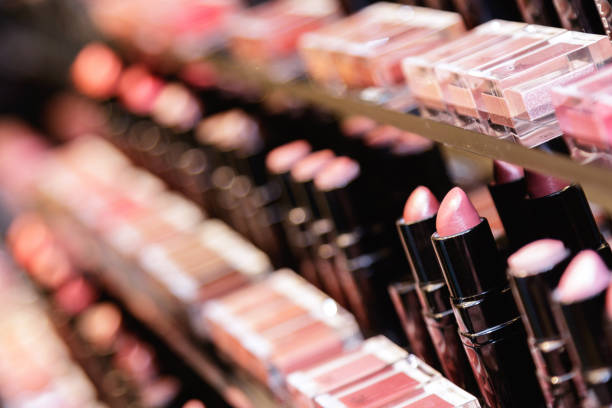 Testers of different lipsticks Testers of different lipsticks in the cosmetic store stage make up stock pictures, royalty-free photos & images