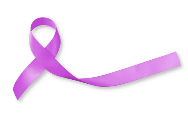 testicular cancer orchid ribbon awareness isolated on white background+ clipping path: - ovarian cancer ribbon stock pictures, royalty-free photos & images
