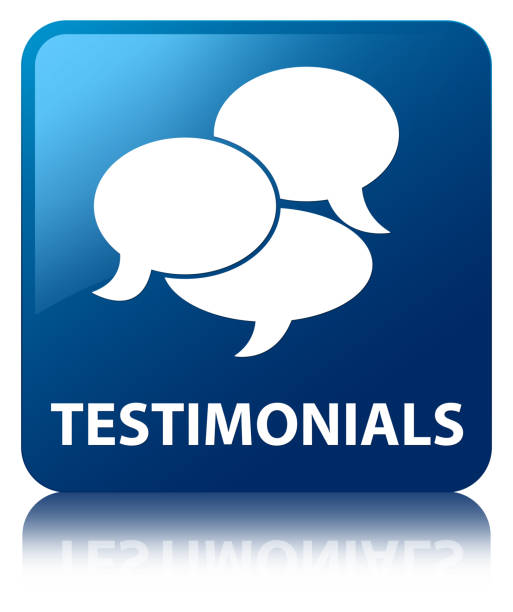 testimonials (comments icon) blue square button - testimonial stock photos and pictures
