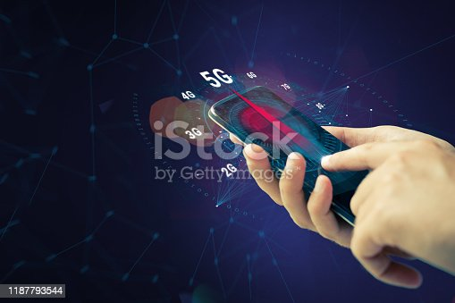 istock Testing 5G internet connection. 1187793544