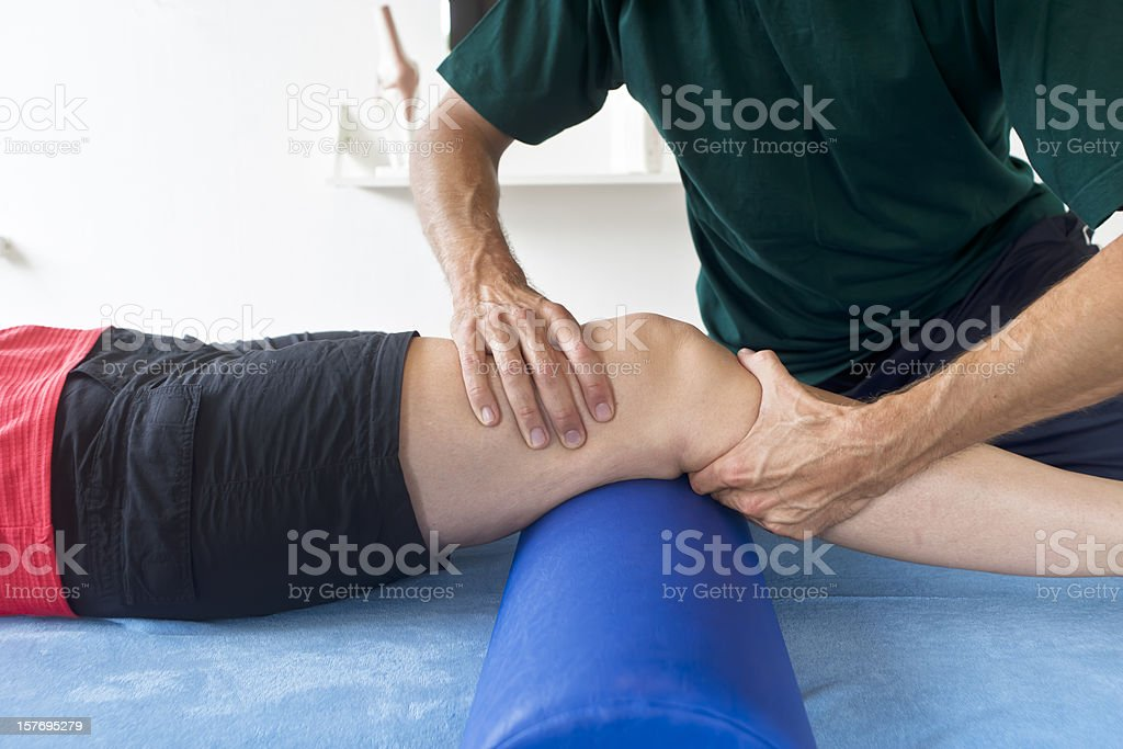 Testing a knee stock photo