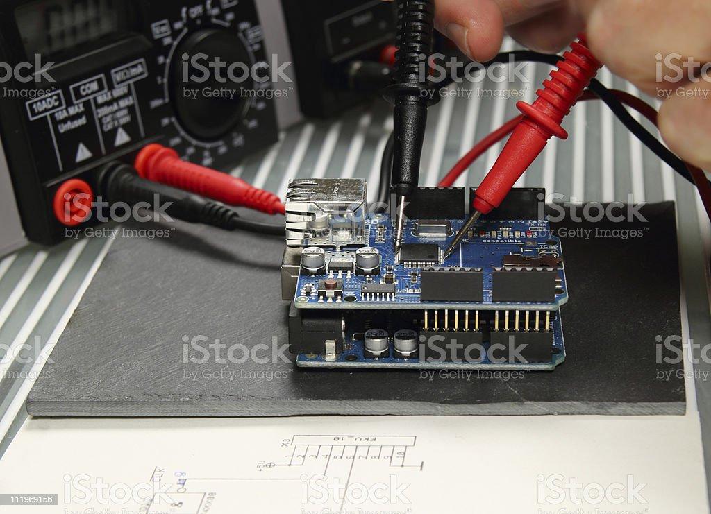testing an electronic circuit stock photo