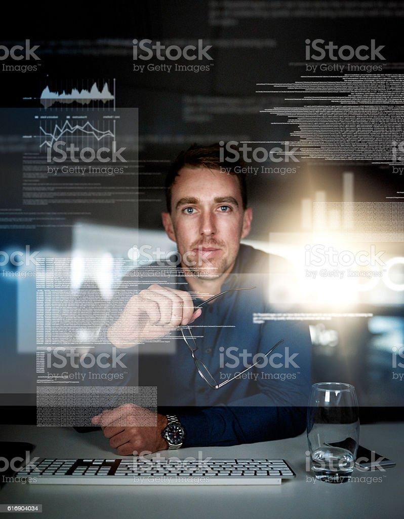 Testing his code stock photo