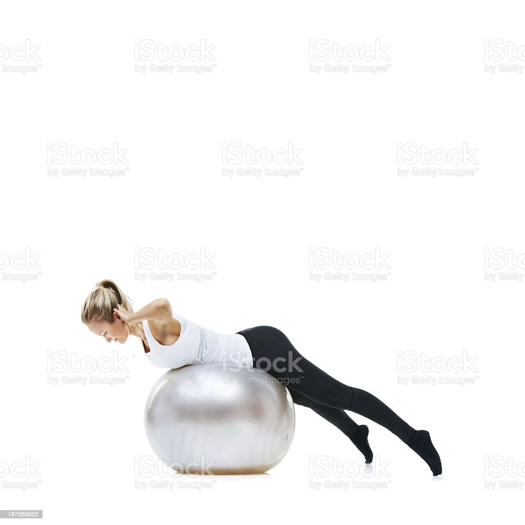 Testing my core strength royalty-free stock photo