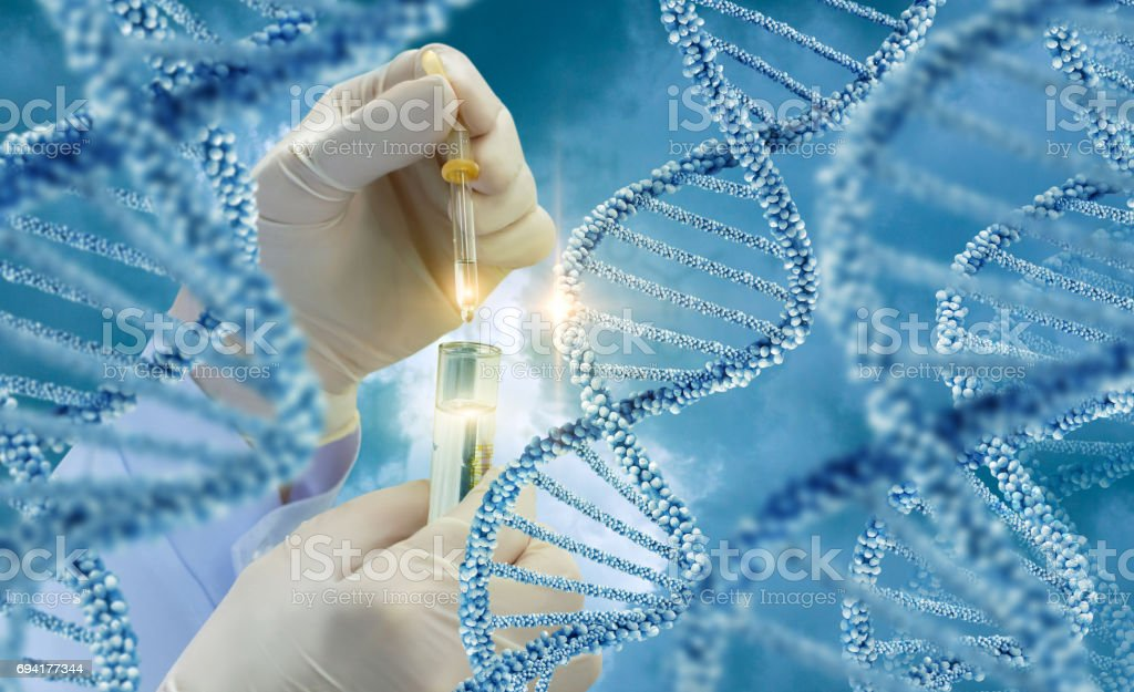 Testing of DNA molecules . stock photo