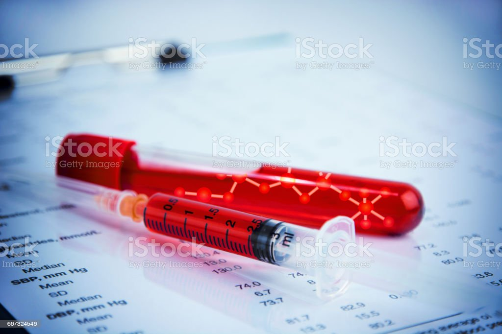 DNA testing of the blood stock photo