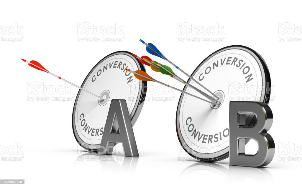 A / B pruebas o Split test. optimización de una página Web para aumentar la tasa de conversión - foto de stock