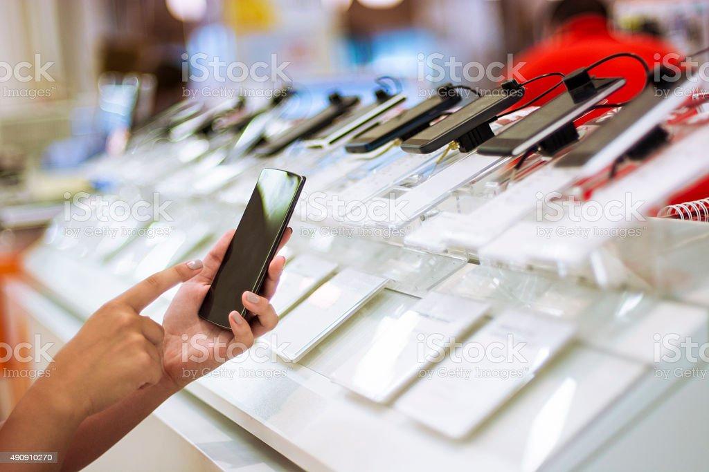 Testing smartphone stock photo
