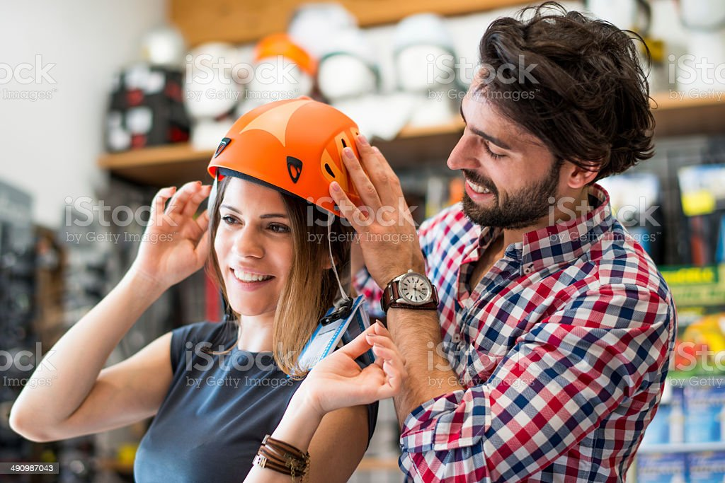 Testing sports helmet stock photo