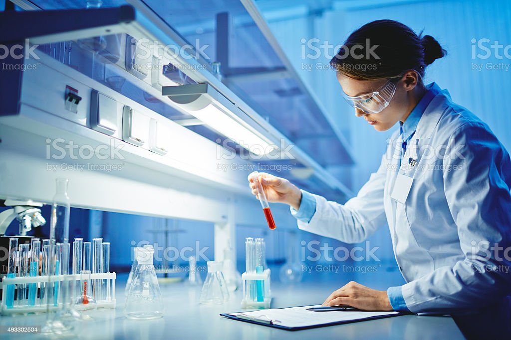 Testing substances stock photo