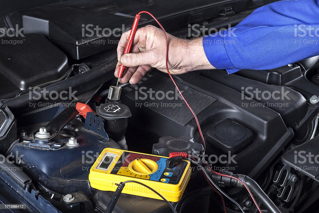 Testing the battery of a car royalty-free stock photo