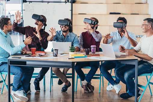 istock Testing the new VR headsets 842445384