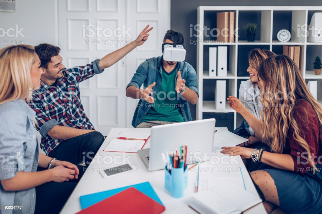 Testing VR equipment Virtual reality in office Adult Stock Photo