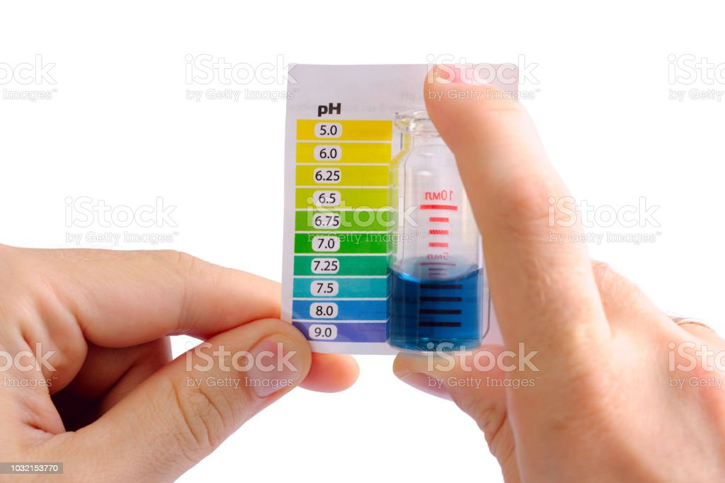 Testing water pH at home stock photo