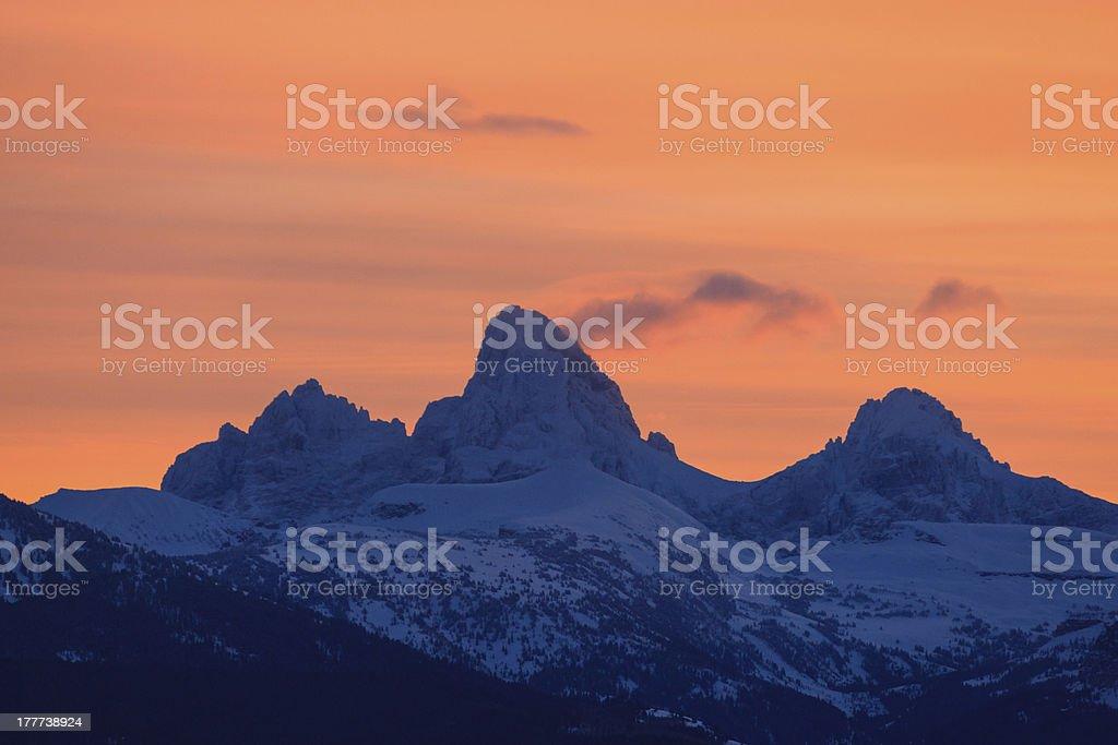 Teton Breaking Dawn stock photo