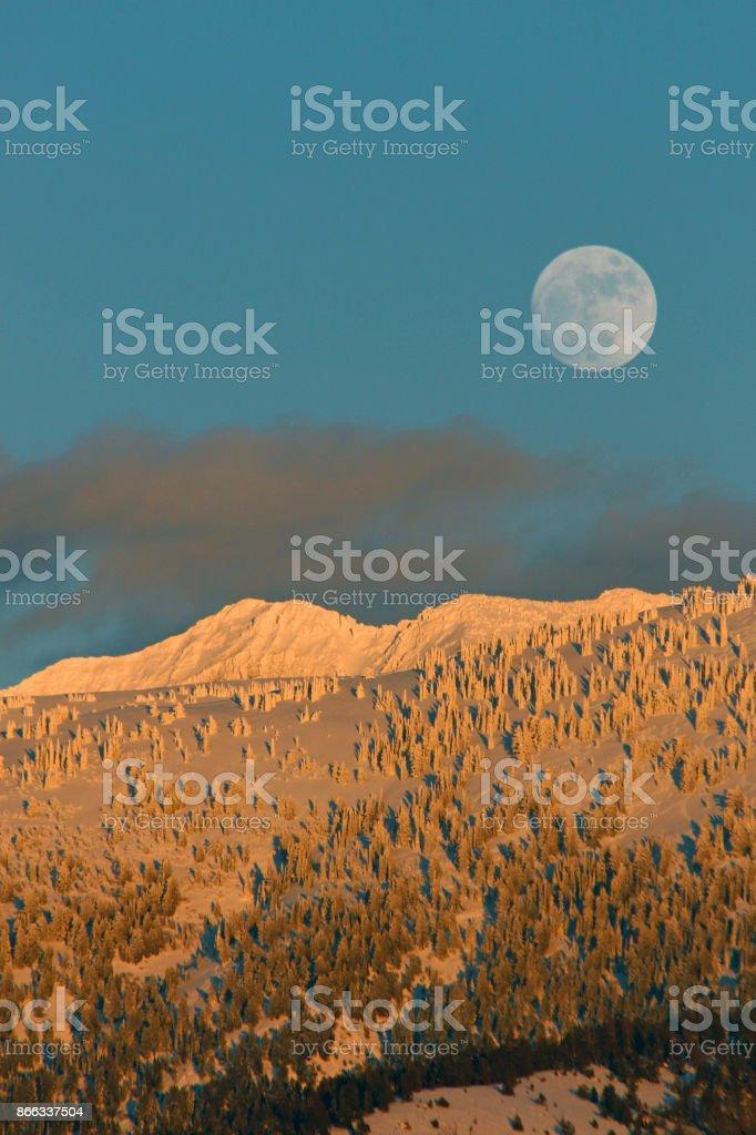 Teton Moonrise stock photo