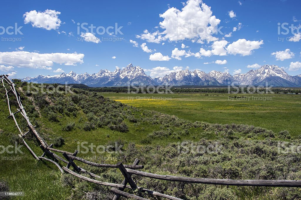 Teton Range and Rail Fence stock photo